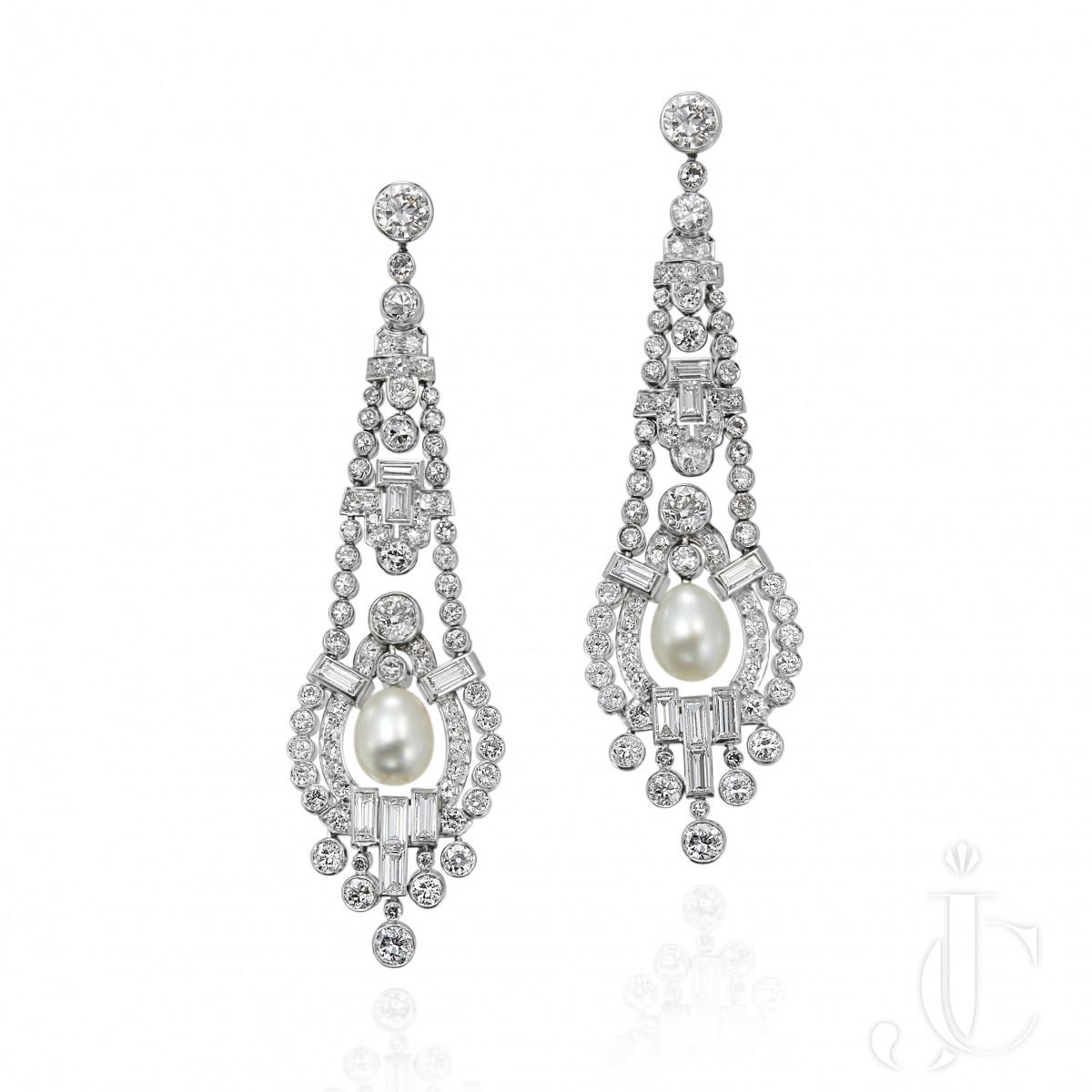 Art Deco Natural Pearl and Diamond Pendant Earrings
