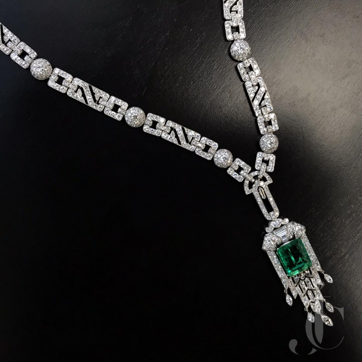 French Art Deco Emerald Sautoir