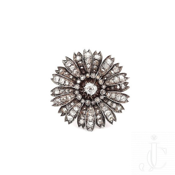 19TH CENTURY DIAMOND, SILVER AND GOLD FLOWER RING