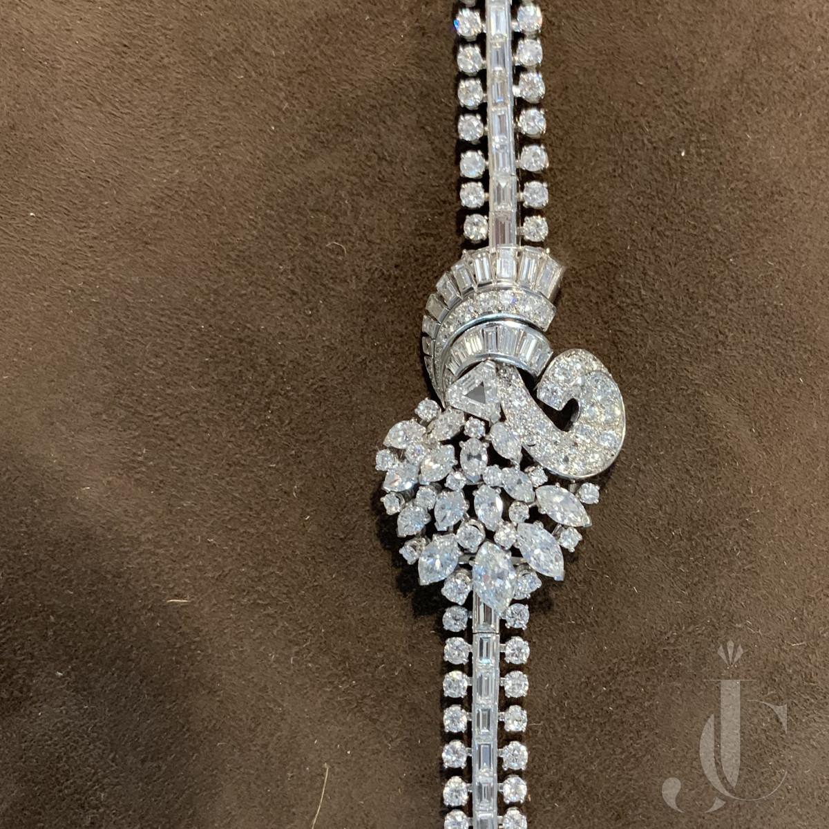 French Platinum Diamond bracelet By Chantecler abt 24 cts