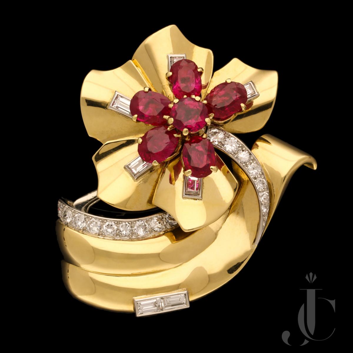 Cartier- Retro Burma Ruby Diamond Clip