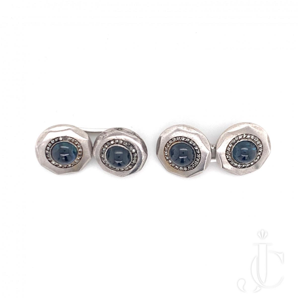 Edwardian Sapphire Diamond Cufflinks