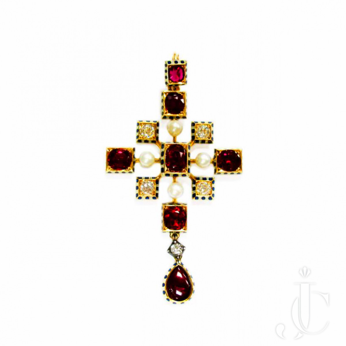 Antique Yellow Gold Ruby and Diamond Enamel Cross, Robert Phillips, circa 1880