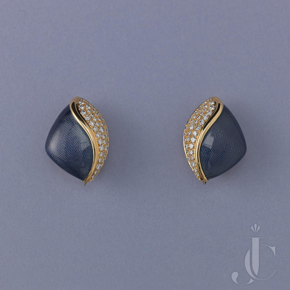 DE VROOMEN GOLD EAR CLIPS WITH DIAMONDS AND PURPLE ENAMEL