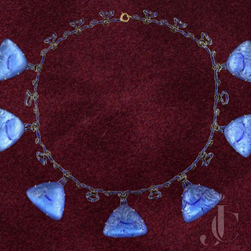 Rene Lalique Glass and Enamel Necklace