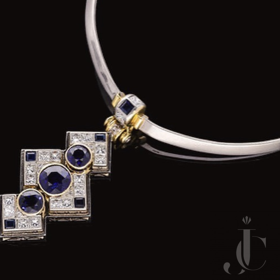 Sapphire & Diamond Necklace converting to Earrings and Clip