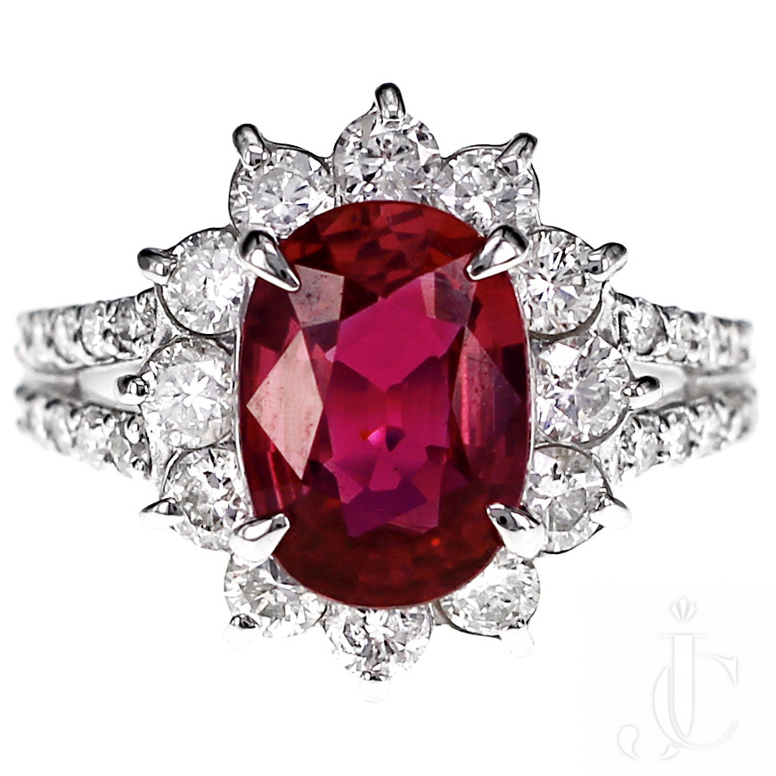 GRS Certified 2.51 Carat Red Mozambique Ruby and 1.28 Carat Diamond in Platinum