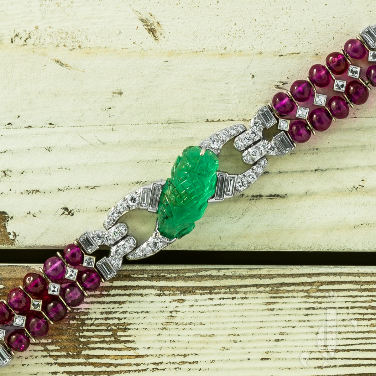 Art Deco Tutti Frutti Bracelet with Carved Emeralds, Rubies and Diamonds