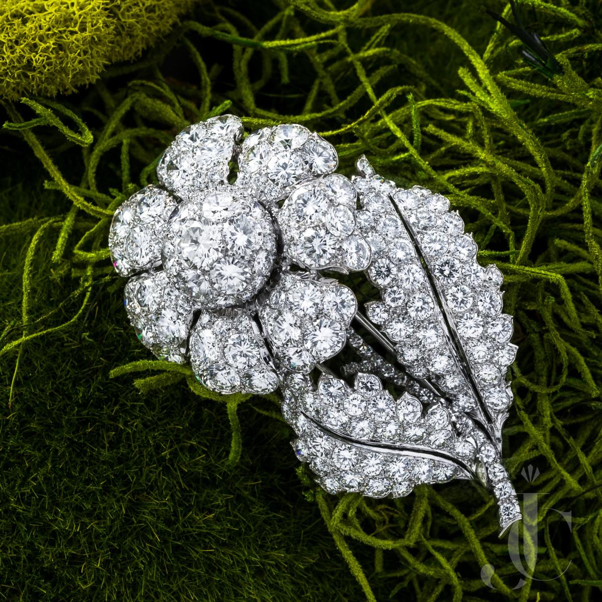 Platinum and Diamond Flower Brooch
