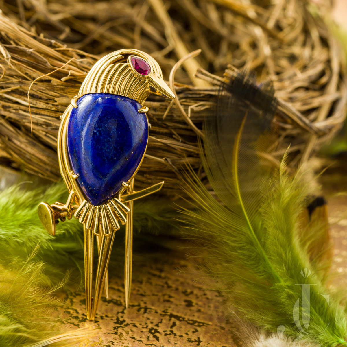 Cartier Lapis and Ruby Bird Brooch, French
