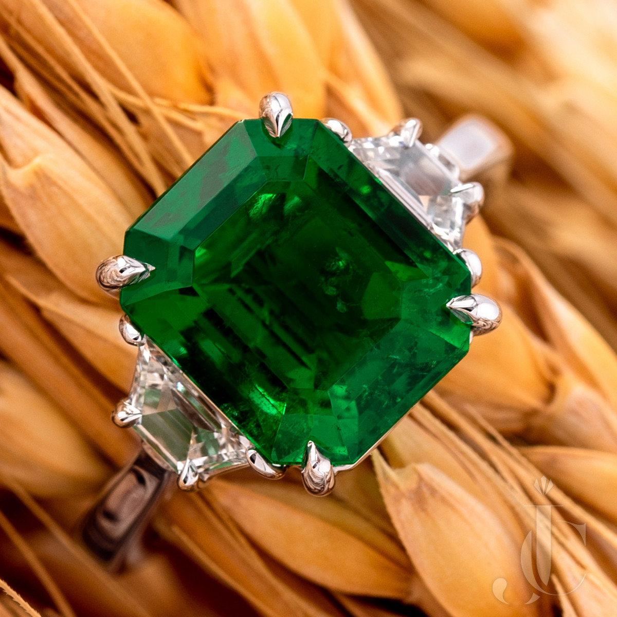4.24 Ct Colombian Emerald and Diamond Ring, AGL Minor Traditional