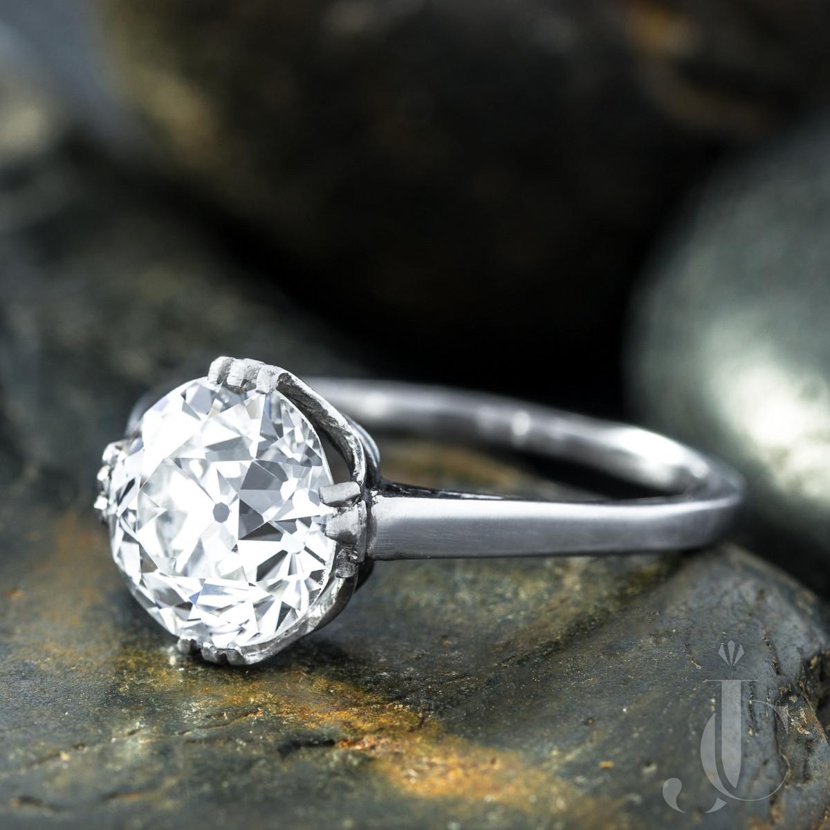 Antique Diamond Engagement Ring, 2.64 Ct GIA G SI2 OEC