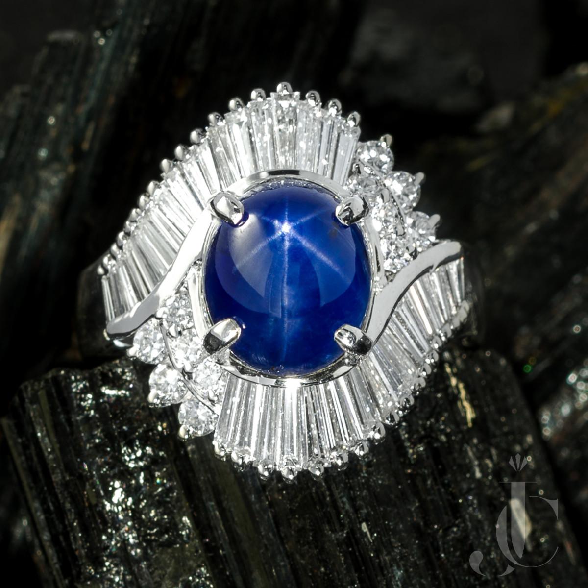 Deep Blue Star Sapphire and Diamond Platinum Ring
