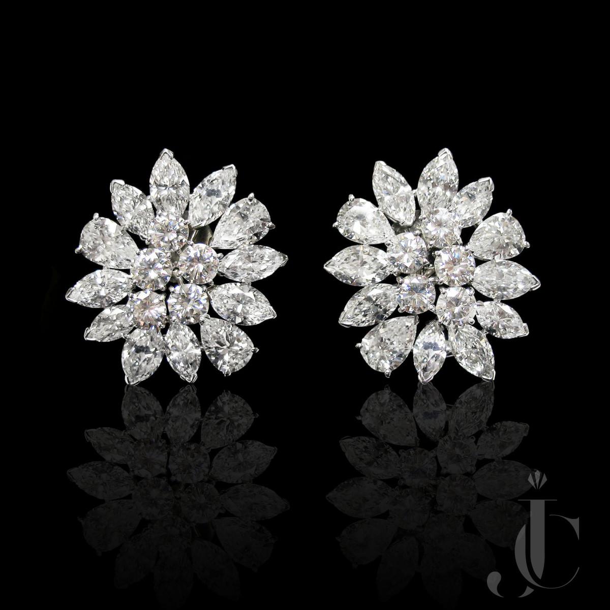 Platinum Diamond Cluster Earrings, circa 1965