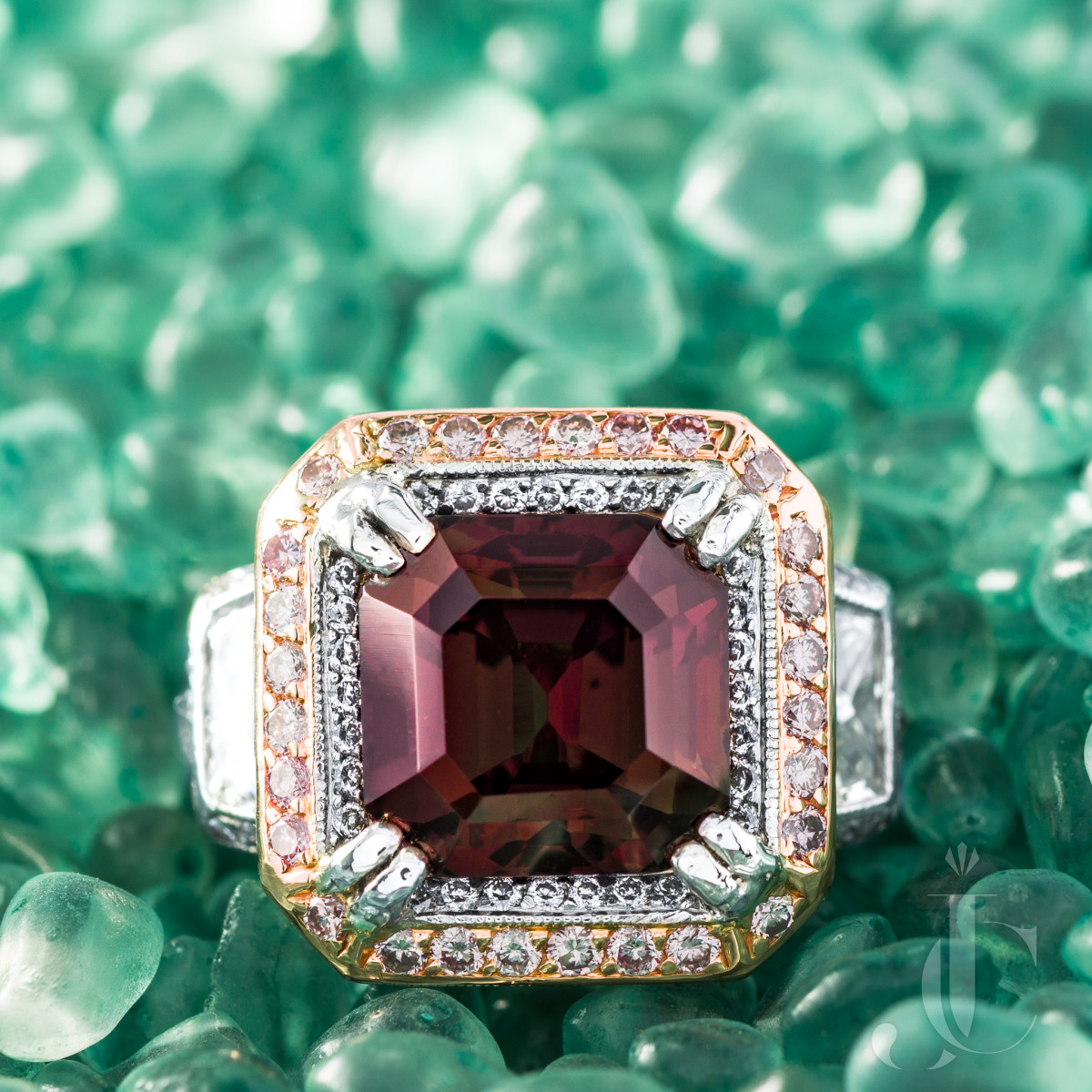 6.94 Carat Alexandrite Ring with Pink and White Diamonds