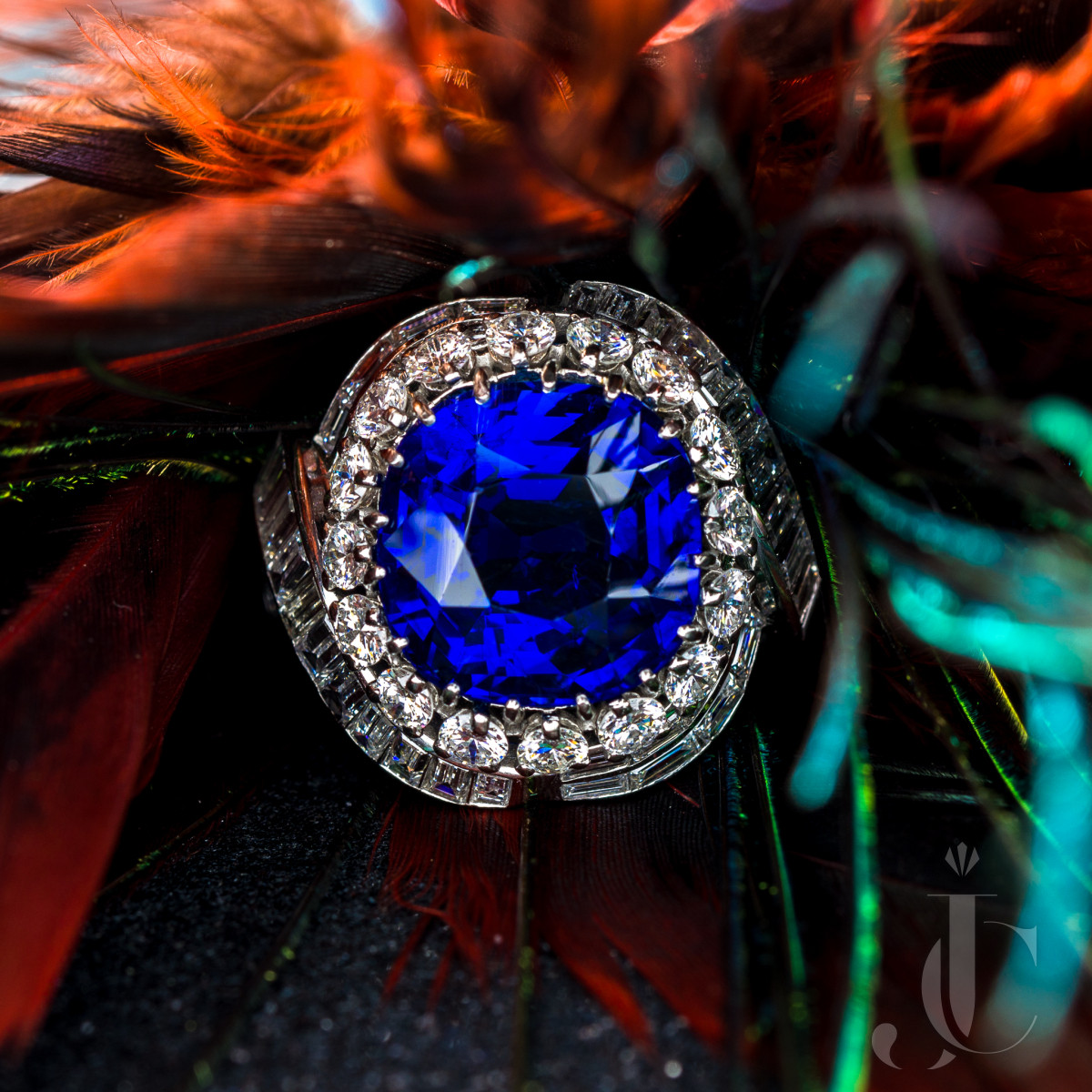 10 Carat Classic Royal Blue Burma Sapphire Platinum Diamond Ring