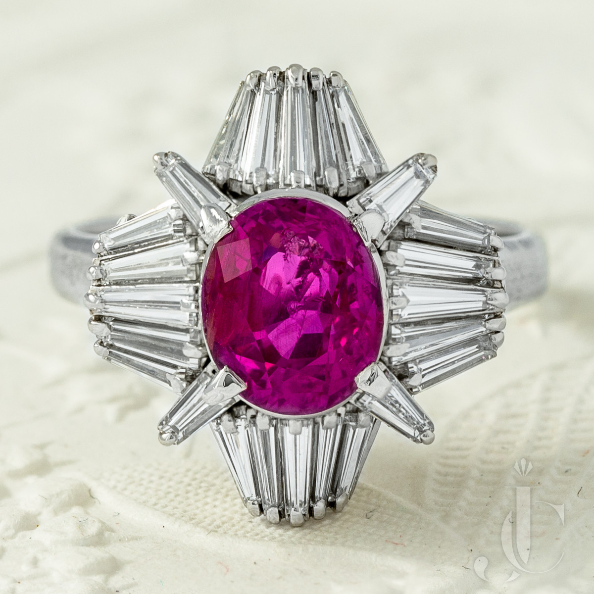 NH Ceylon Pink Sapphire Platinum Diamond Ring