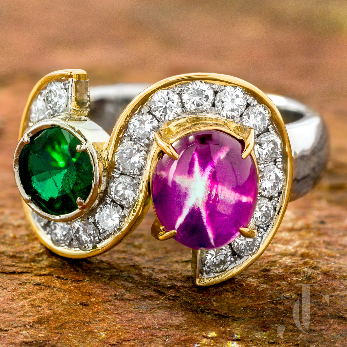 Star Ruby, Emerald and Diamond Ring, 20K YG and Platinum