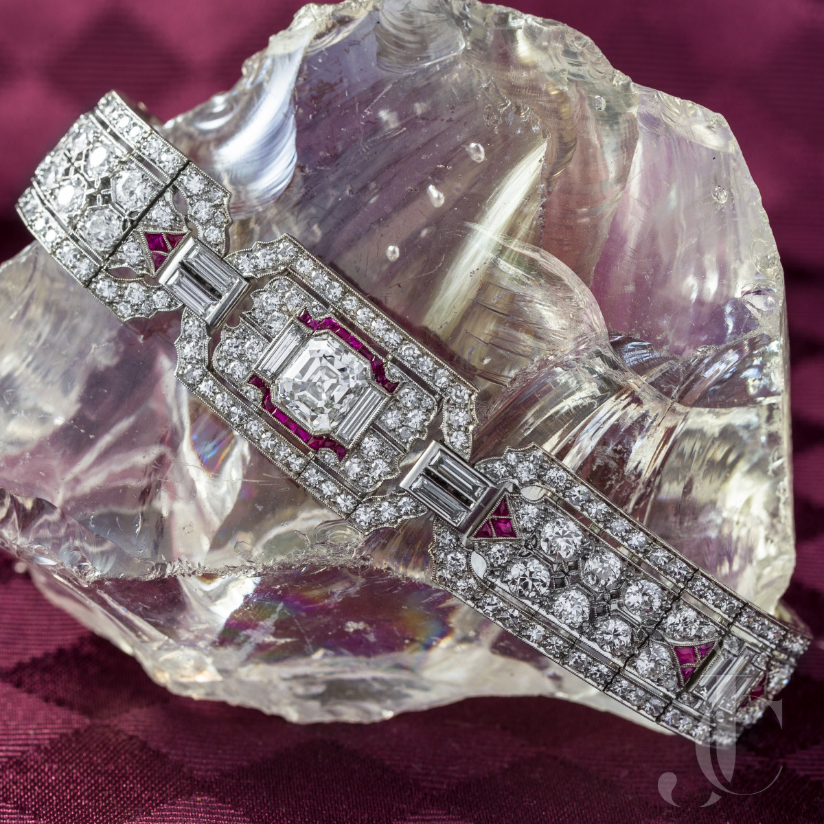 Art Deco Diamond and Ruby Platinum Bracelet