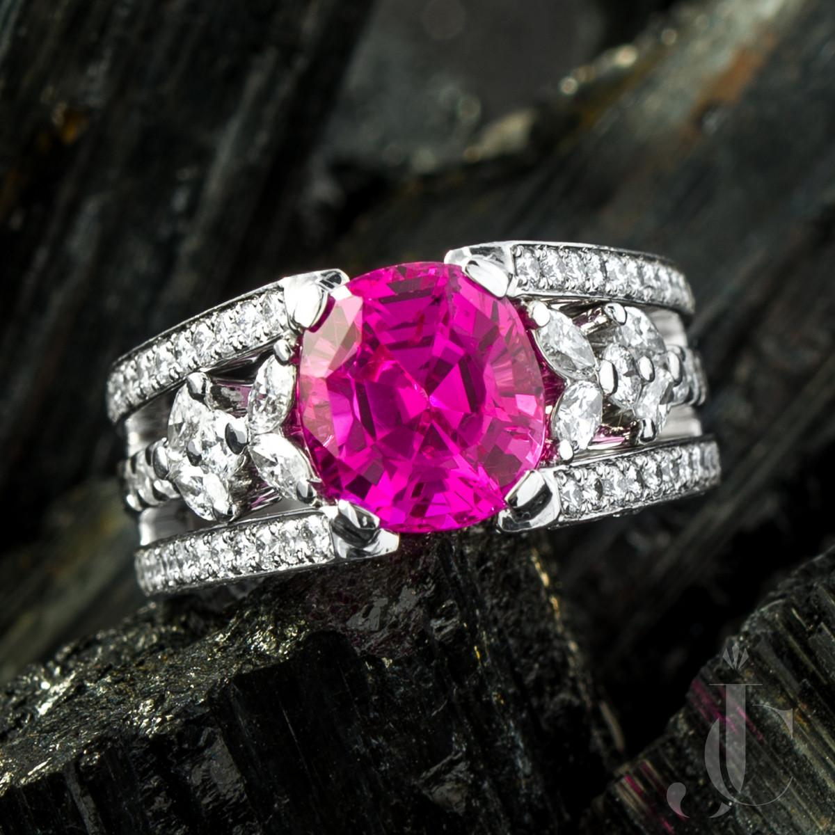 Ceylon Pink Sapphire and Diamond Platinum Ring