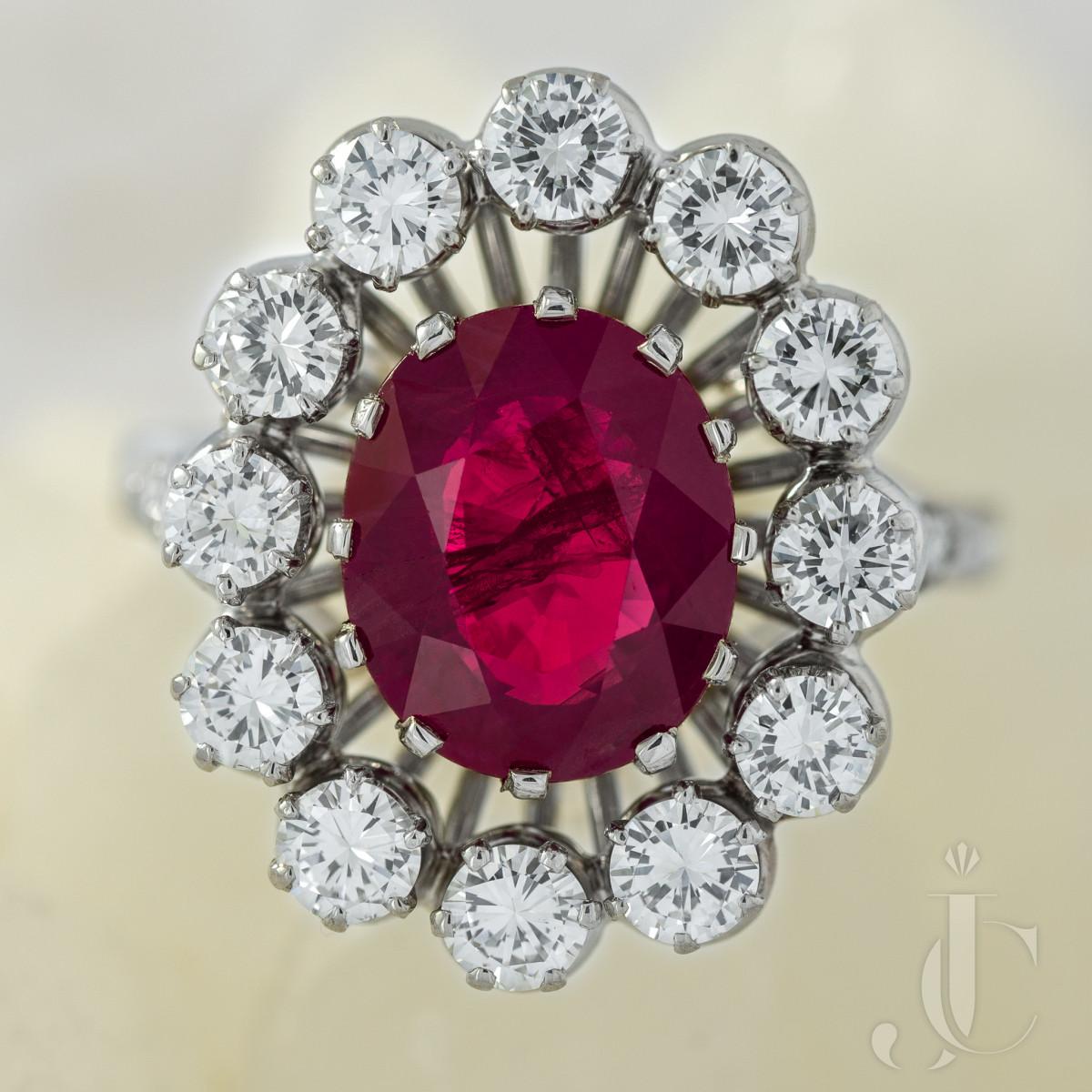 Burma Ruby and Diamond Platinum Ring