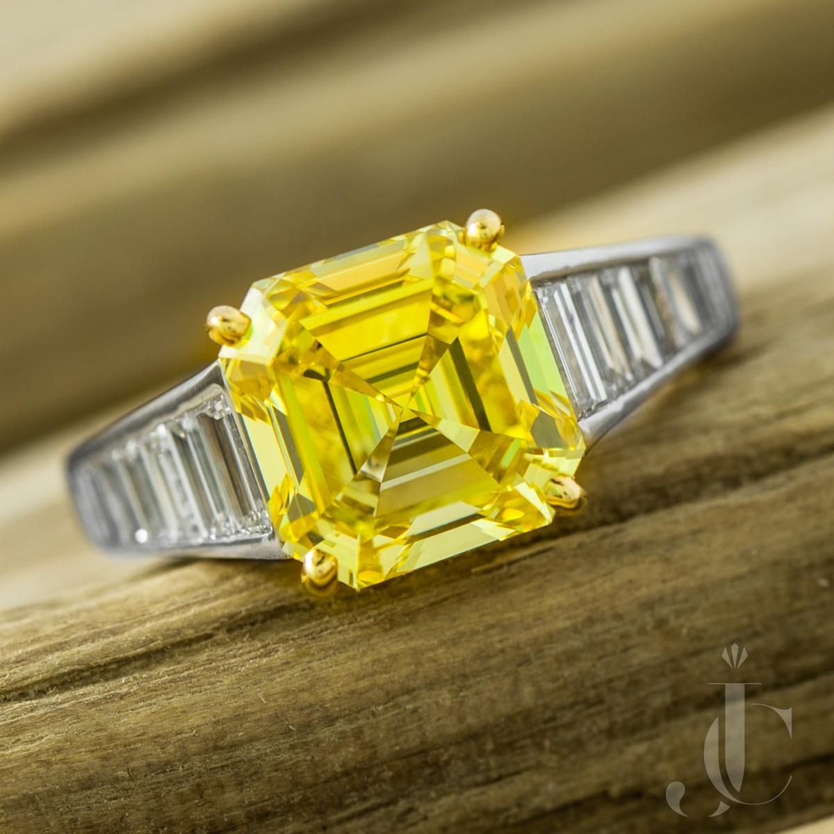 Graff Fancy Vivid Yellow Diamond and White Diamond Platinum Ring