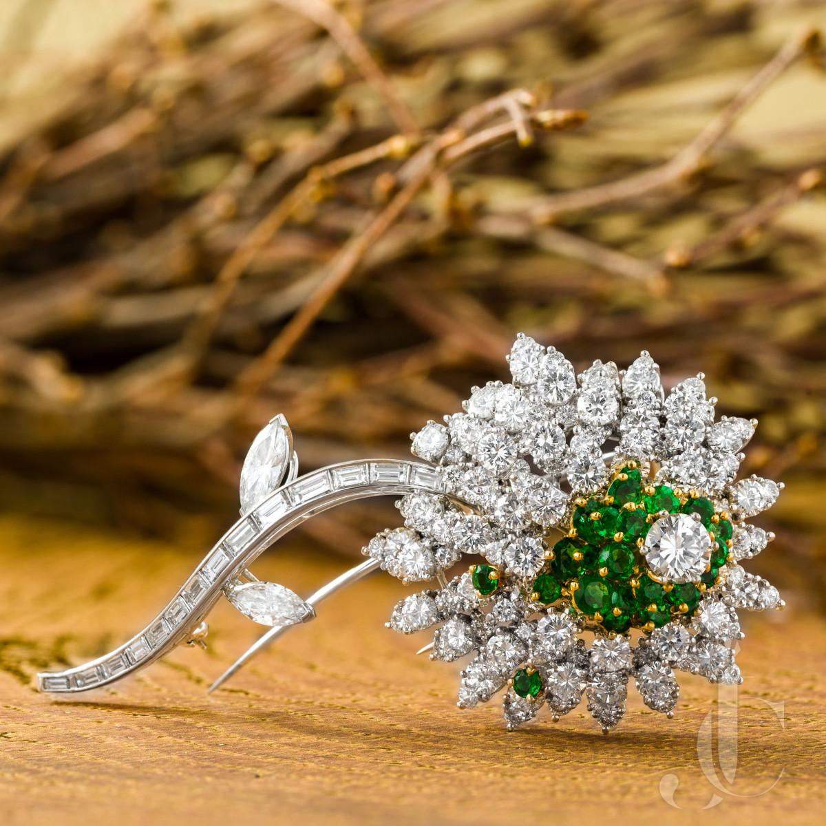 Kurt Wayne Emerald and Diamond Platinum Brooch