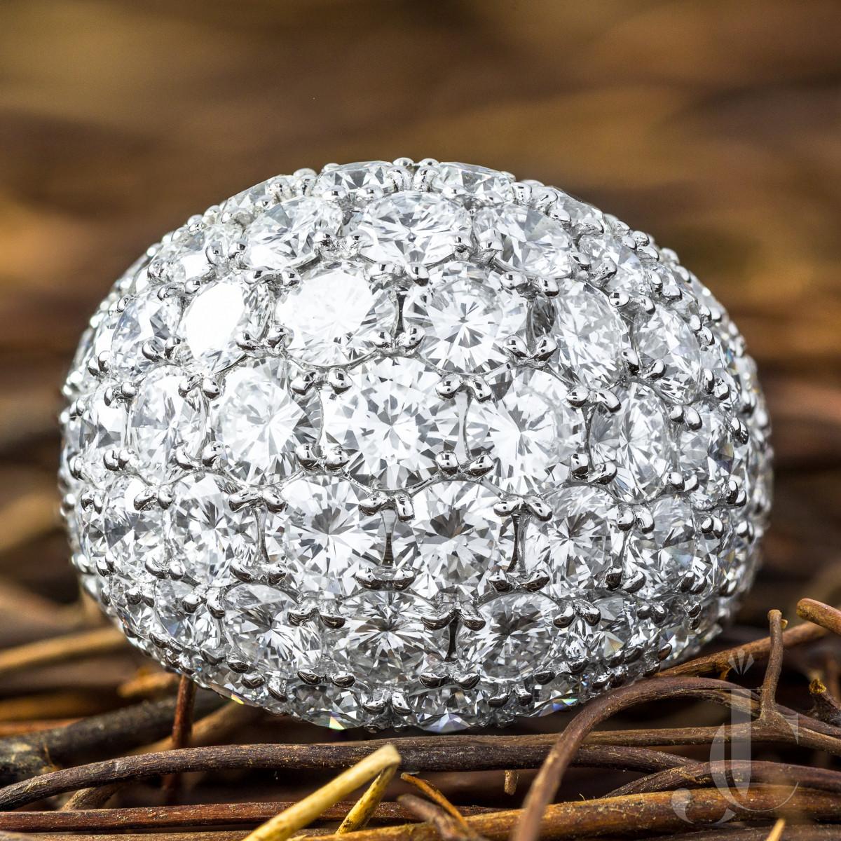 Pavé Diamond Platinum Dome Ring, 10 Carats