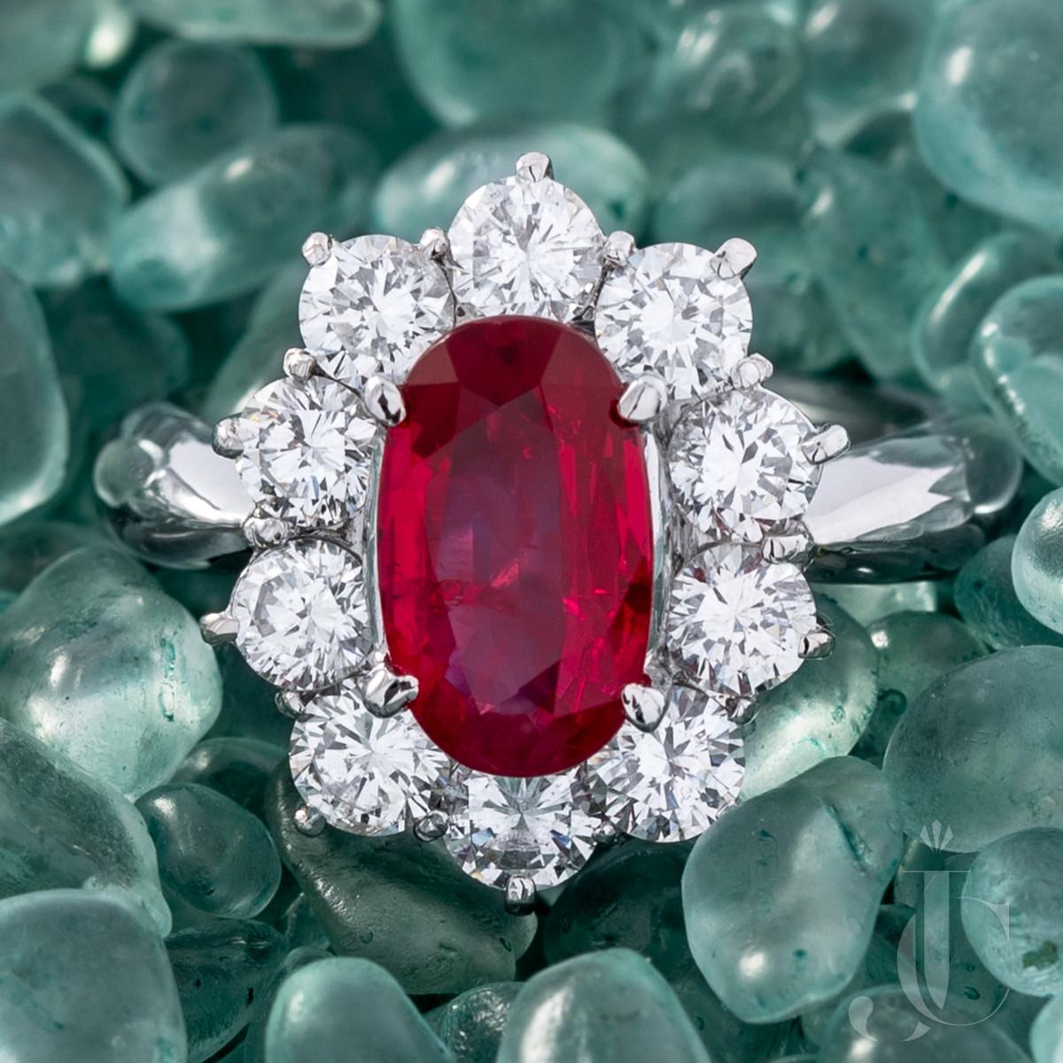 Deep Red Burma Ruby and Diamond Platinum Ring