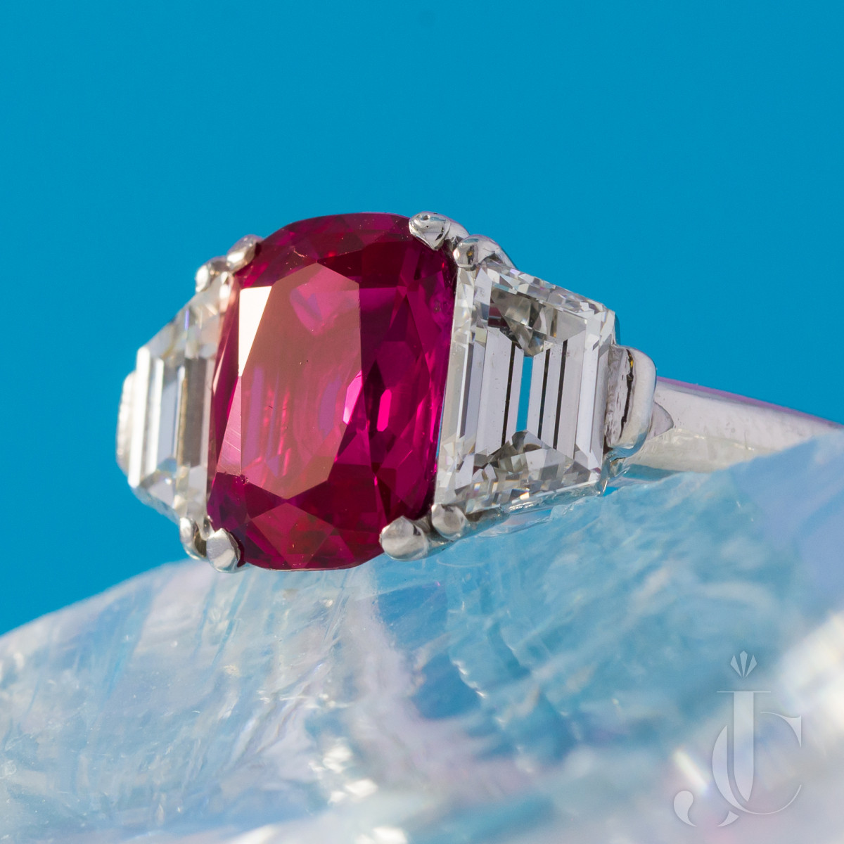 NH Burma Ruby and Diamond Platinum Ring
