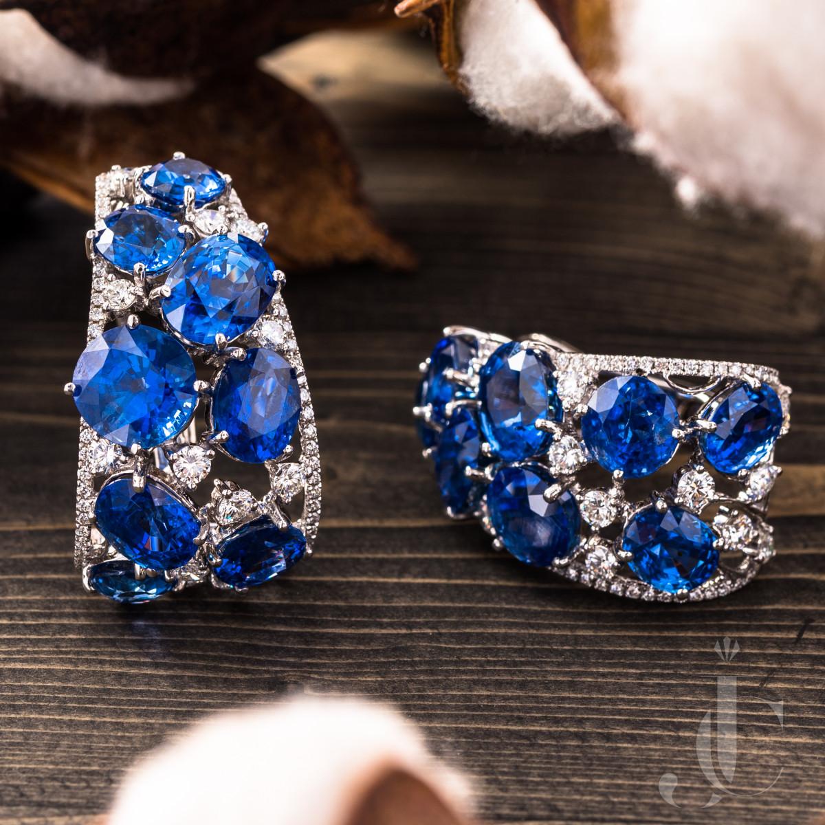 42 Carats  of NH Burma Sapphire and Diamond Earrings