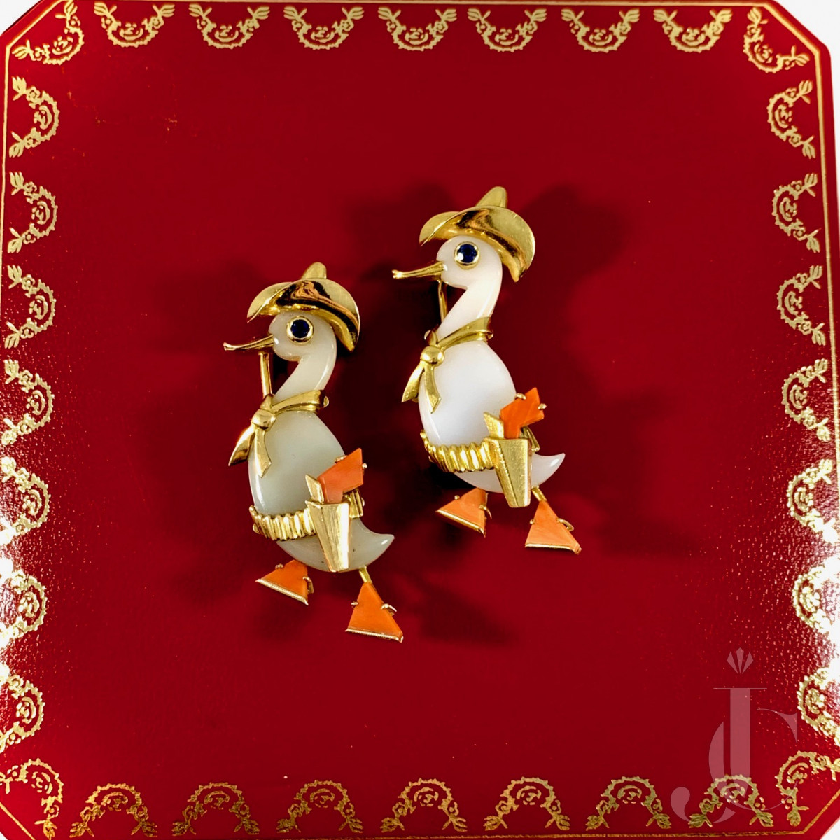 Pair of Amusing Cartier Paris Agate and Coral Cowboy Duck Brooches