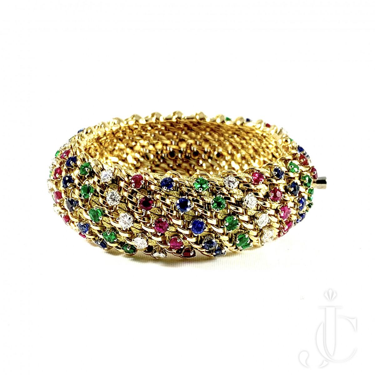 Oscar Heyman Brothers 18kt Yellow Gold Gemset Bracelet