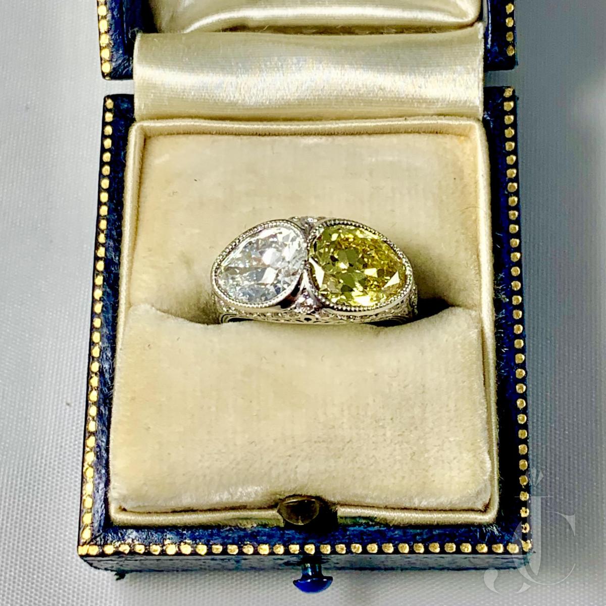 Edwardian Platinum Old Mine Pear Shape Diamond Twin Ring