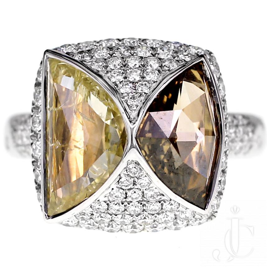 3.56 Carat Natural Yellow and Brown Diamond Cocktail Ring