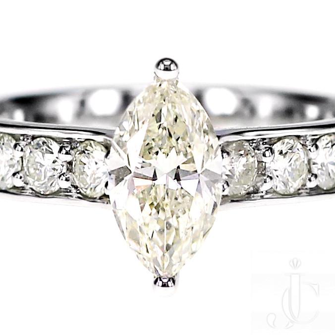 1.00 Carat Marquise Cut White Diamond Engagement Ring