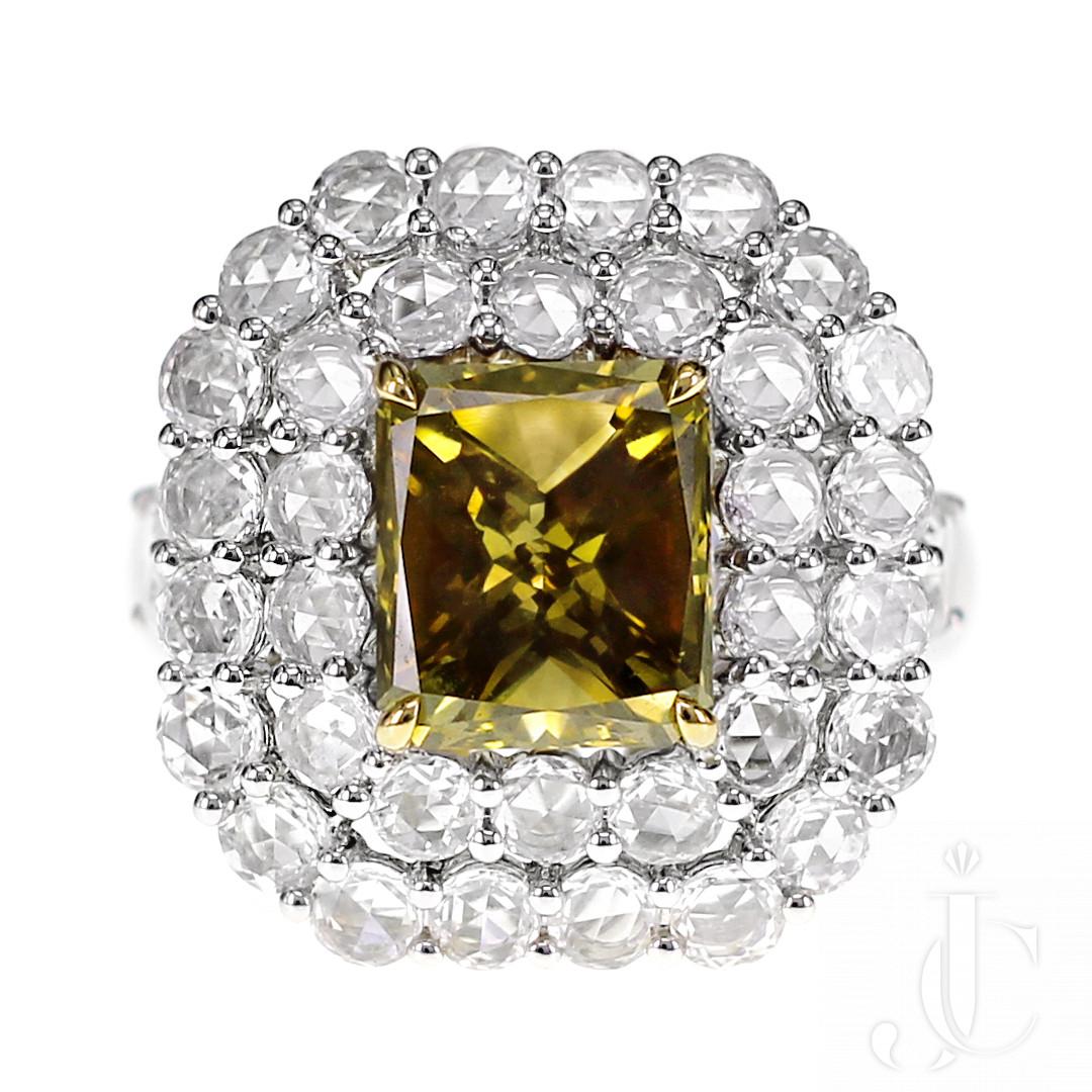 2.62 Carat Natural Yellow Diamond Solitaire Ring