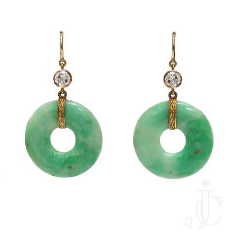 14kt Jadeite Disc and Diamond Earrings