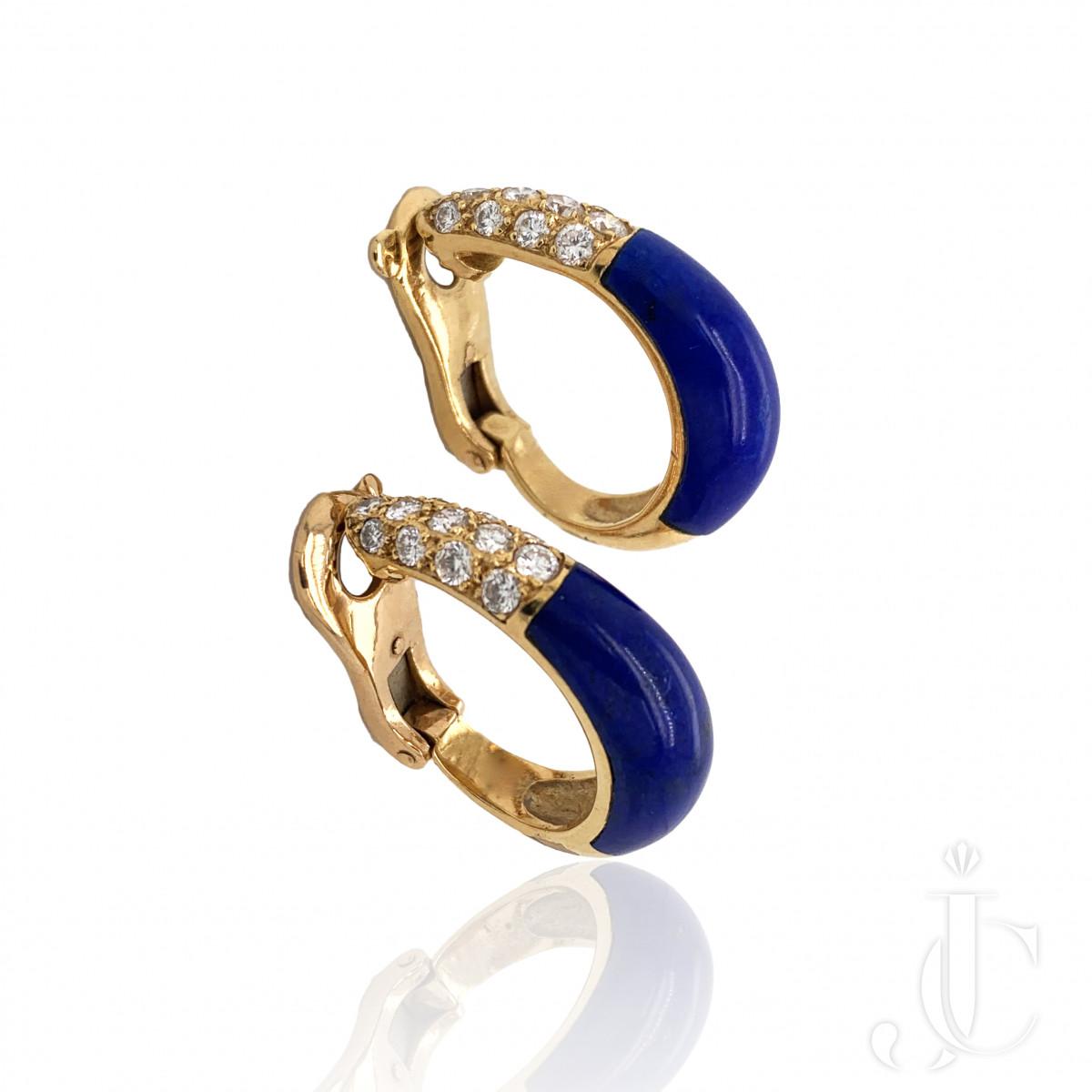 Cartier French 1980s 18kt Gold Diamond & Lapis Earrings