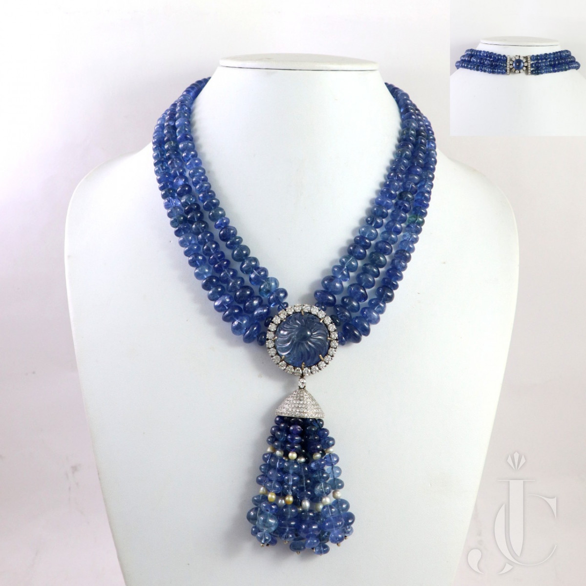 An Elegant Three Line Natural Burma Blue Sapphire Beads Necklace