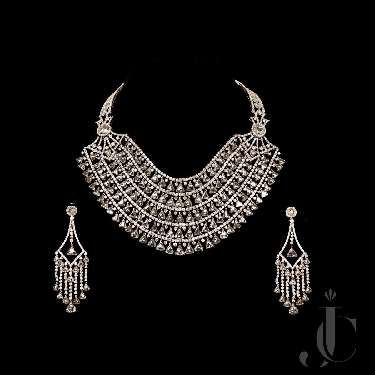 A Very Unique Extra Fine White Diamond Triangle (Tavij) Necklace & Earing