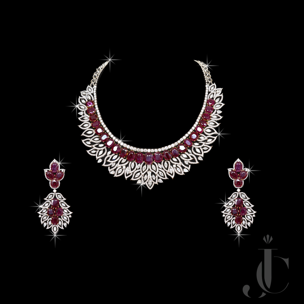 Ex. Fine Natural Burma Ruby Oval with Diamond Marq Necklace & Earing