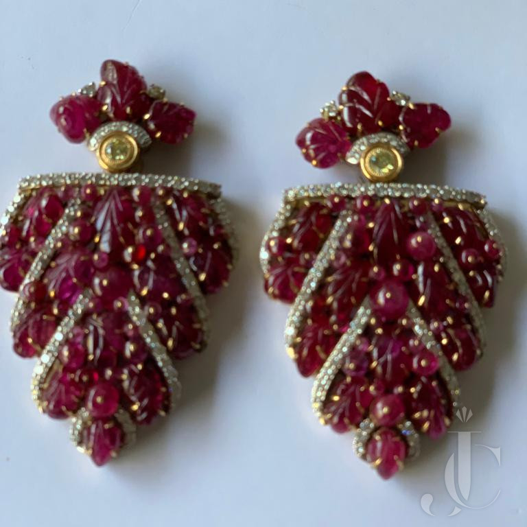 Natural Burma Ruby Leaf with Diamond Side Clip Pair