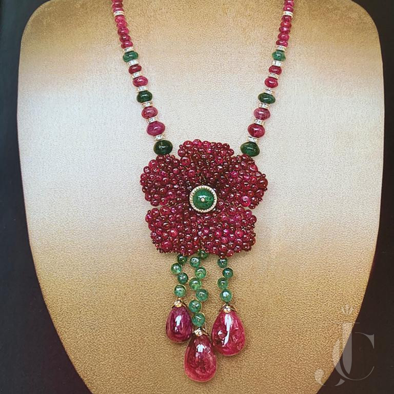Natural Burma Ruby Drops & Beads Flower Pendant Necklace