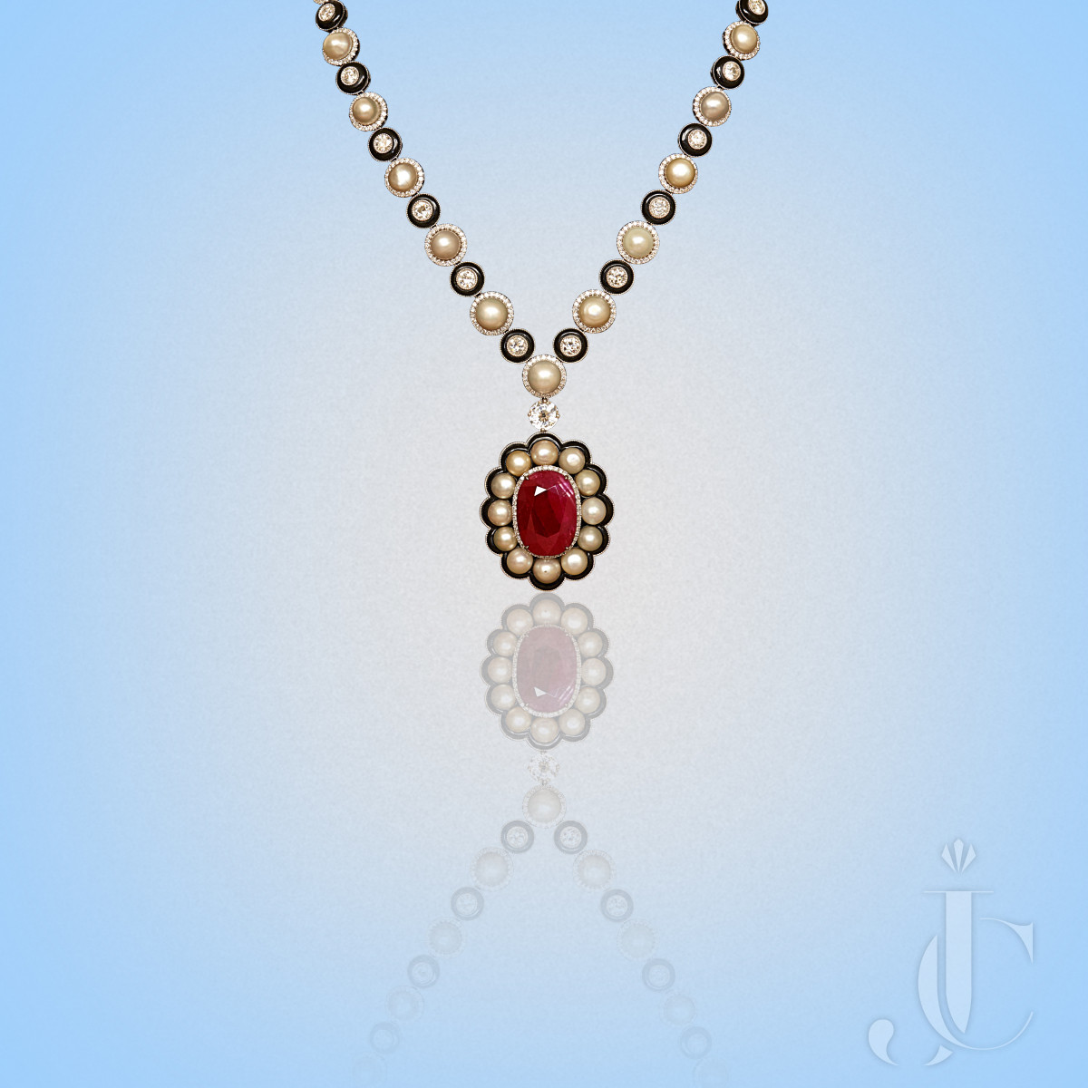 Natural Burma Ruby Oval With Basra Pearls & Black Onyx with Diamond Necklace