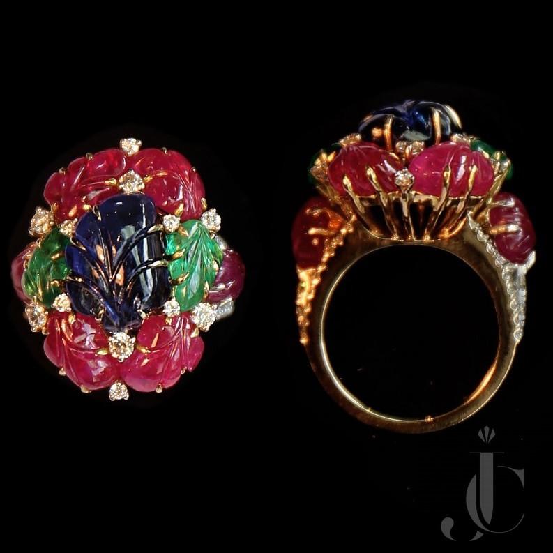Art Deco Style Tutti Fruiti Natural Ruby Emerald & Sapphire Ring