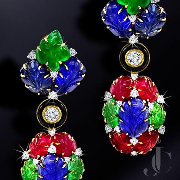 Art Deco Style Tutti Fruiti Natural Ruby Emerald & Sapphire Earing
