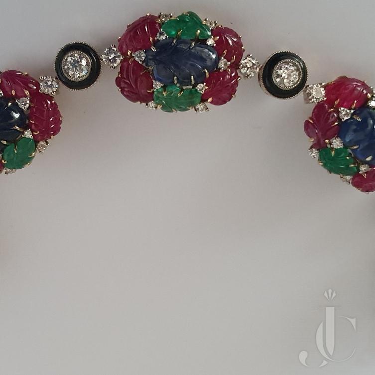 Art Deco Style Tutti Fruiti Natural Ruby Emerald & Sapphire Bracelet
