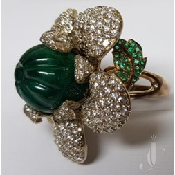 Natural Emerald Carved Bead with Diamond Ring