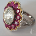 Rose Cut Diamond with Ruby Flower Design Ring